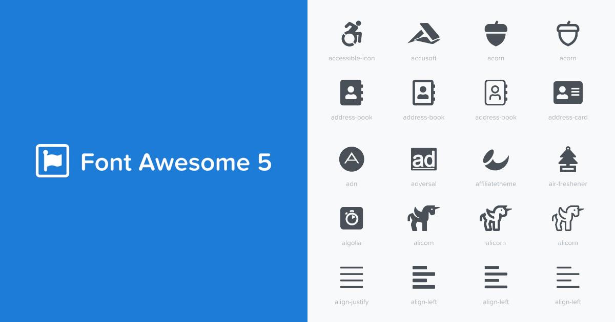 Font Awesome 5 Icons Cheatsheet