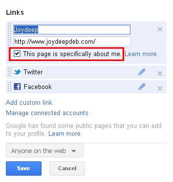 Google profile to your author page