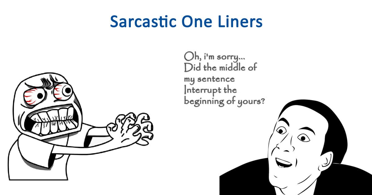 Funny Sarcastic One Liners Jokes
