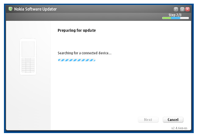 Nokia Software Updater - Searching Device Screen