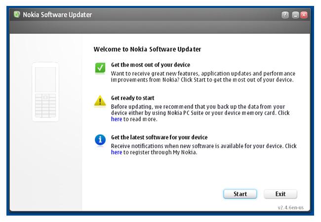 Nokia Software Updater - Start-up Screen